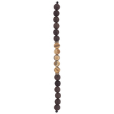 Brown Dyed Lava Stone Round Bead Strand