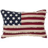 American Flag Fringed Pillow
