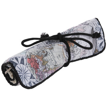 Vintage Map Print Jewelry Rollup Bag