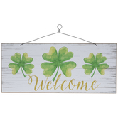 Welcome Clover Wood Wall Decor