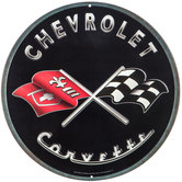 Chevrolet Corvette Round Metal Sign