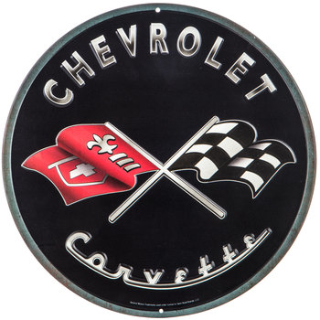 Chevrolet Corvette Round Metal Sign
