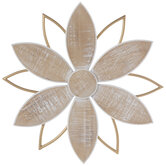 Gold & Distressed White Flower Wood Wall Decor
