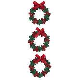 Green & Red Glitter Wreath Embellishments