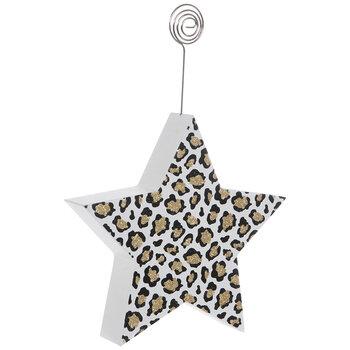 Gold Glitter Leopard Star Wood Photo Clip