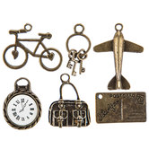 Antique Gold Travel Charm Embellishments
