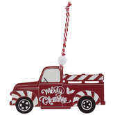 Red & White Striped Truck Ornament