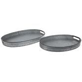 Oval Galvanized Metal Tray Set