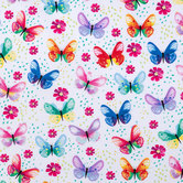 Watercolor Butterfly Cotton Apparel Fabric