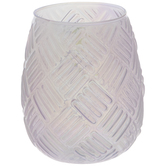 Iridescent Pink Weave Glass Candle Holder