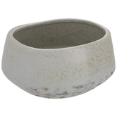 Gray & Brown Speckled Oval Flower Pot