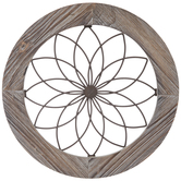 Brown Round Wire Wood Wall Decor