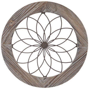 Brown Round Wire Wood Wall Decor, Round Wall Decor Wood