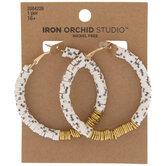 Black & White Beaded Hoop Earrings