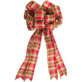 Red, Green & Cream Plaid Wired Edge Bow