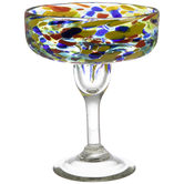 Multi-Color Dotted Stemmed Glass