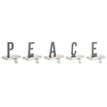 Metal Plaid Peace Stocking Holder Set