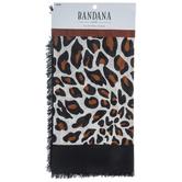 Leopard Print Voile Bandana With Fringe