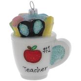 Number One Teacher Mug Ornament
