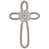 Whitewash Flower & Beaded Wood Wall Cross
