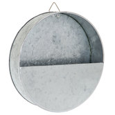 Galvanized Metal Round Wall Planter