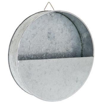 Galvanized Metal Round Wall Planter - Small