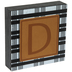 Plaid & Leather Letter Wood Wall Decor - D