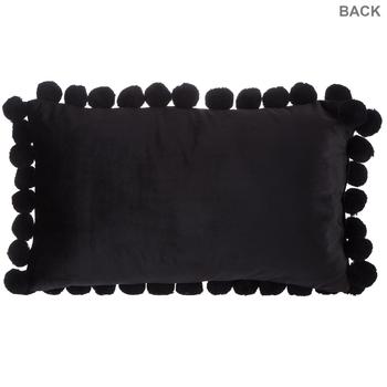 Velvet Lumbar Pillow with Pom Poms