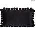 Black Velvet Lumbar Pillow with Pom Poms