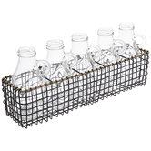 Black & Gold Metal Basket With Bottles
