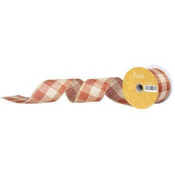 "Orange Buffalo Check Burlap Wired Edge Ribbon - 2 1/2"""