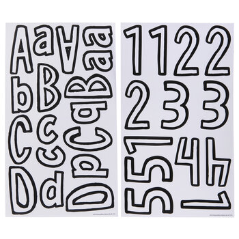 White & Black Cartoon Alphabet Stickers