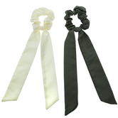 Ivory & Olive Ribbon Scrunchies