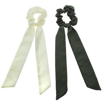 Ivory & Olive Ribbon Scrunchies