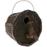 Barrel With Faucet Wood Birdhouse