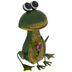 Sitting Metal Frog With Flower