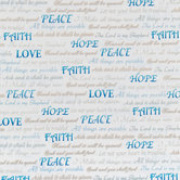 White & Blue Inspirational Cotton Calico Fabric