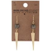 10K Gold Plated Beaded Dagger Earrings