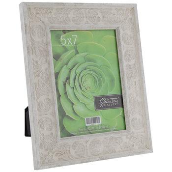 "White Distressed Scroll Wood Frame - 5"" x 7"""