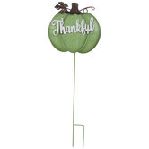 Green Thankful Pumpkin Metal Garden Stake