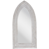 White Pointed Wood Wall Mirror