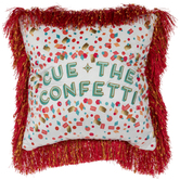 Cue The Confetti Pillow With Fringe