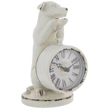 White Dog Holding Metal Clock