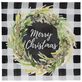 Merry Christmas Wreath Canvas Wall Decor