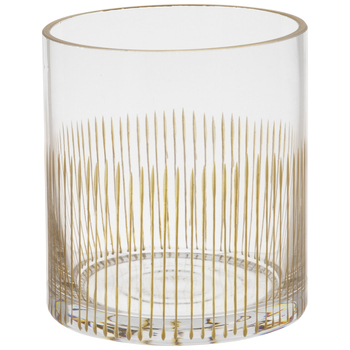 Gold Vertical Striped Glass Candle Holder