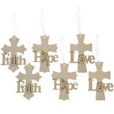 Faith Cross Wood Ornaments