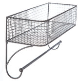 Gray Wire Wall Basket With Rod