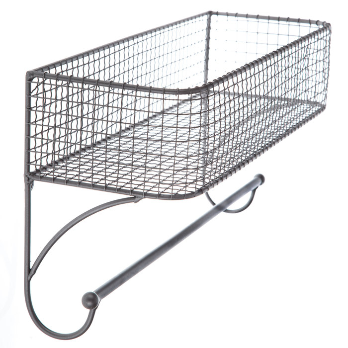Gray Wire Wall Basket With Rod Hobby Lobby 1118264