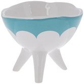 Blue Scalloped Bowl With Legs