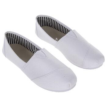 White Canvas Slip-On Ladies' Shoes - Size 9